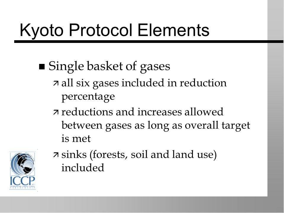 Kyoto Protocol Elements Single basket of gases all six gases included in reduction percentage reductions and increases allowed between gases as long as overall target is met sinks (forests, soil and land use) included