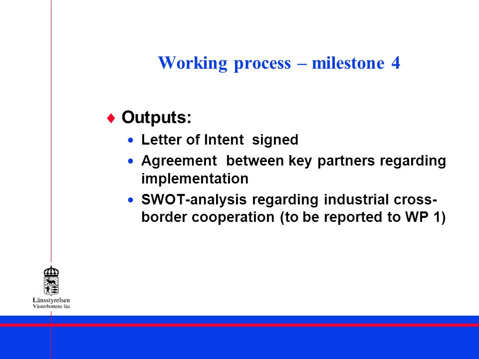 Working process – milestone 4 Outputs: Letter of Intent signed Agreement between key partners regarding implementation SWOT-analysis regarding industr