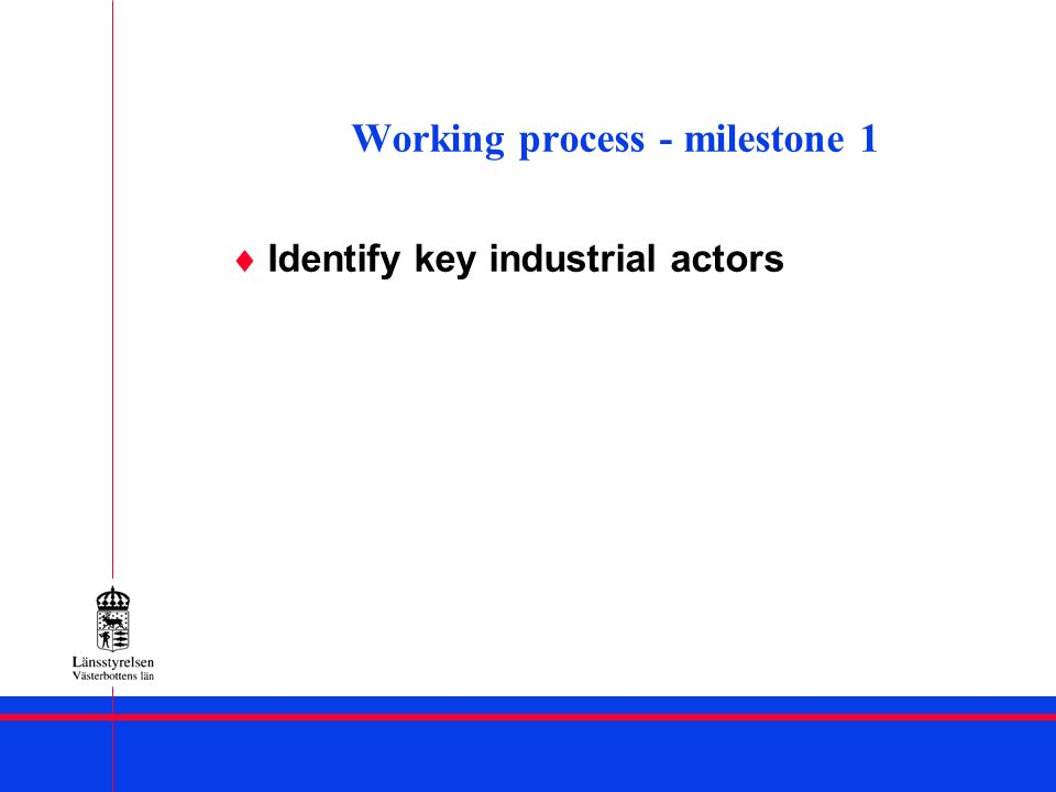 Working process – milestone 1 SWOT – analysis of the regions industrial development potential Priority list of industrial actors, industrial projects and institutions/agencies suitable for industrial cross-border cooperation