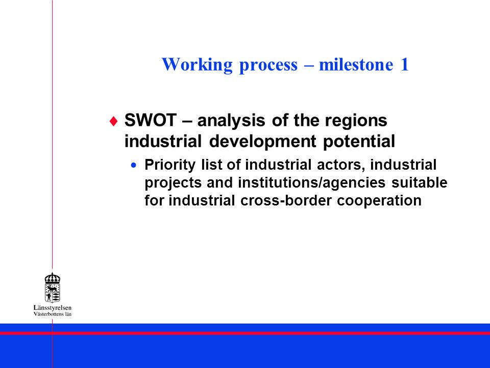 Working process – milestone 5 Outputs: Implementation of sub-projects SWOT-analysis re the regional industrial potential and development Strategic programme for industrial cross- border co-operation ( to be reported to WP 1)
