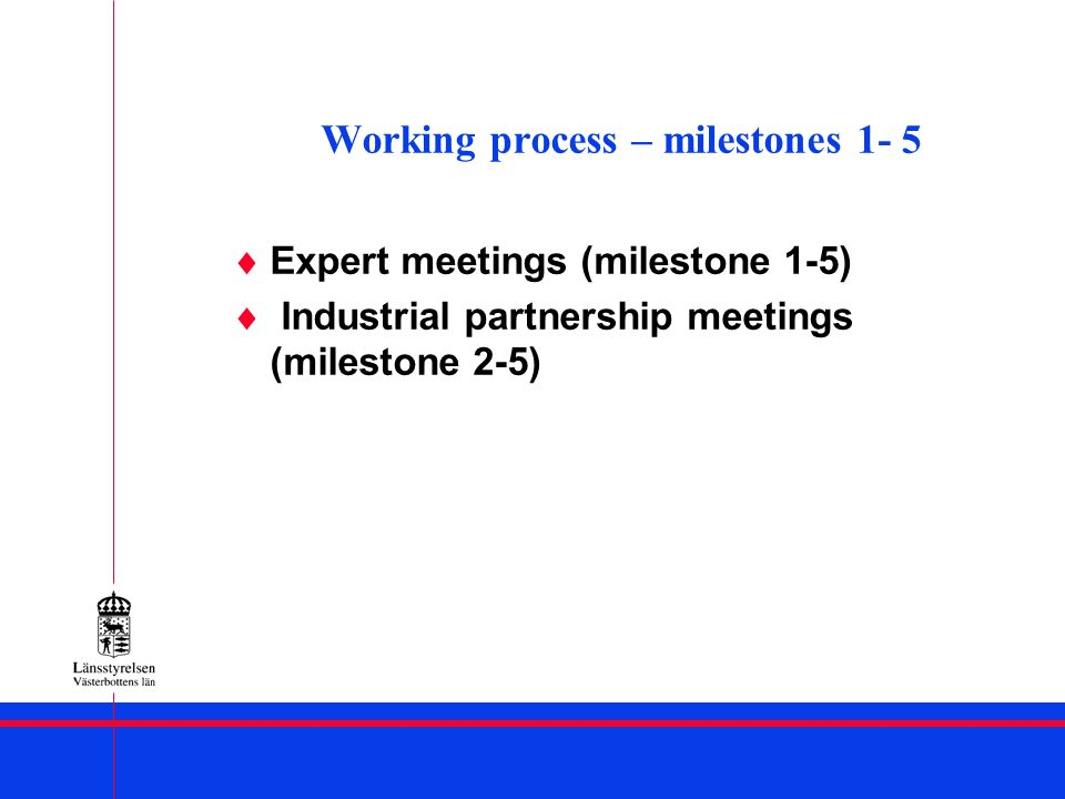 Working process – milestones 1- 5 Expert meetings (milestone 1-5) Industrial partnership meetings (milestone 2-5)