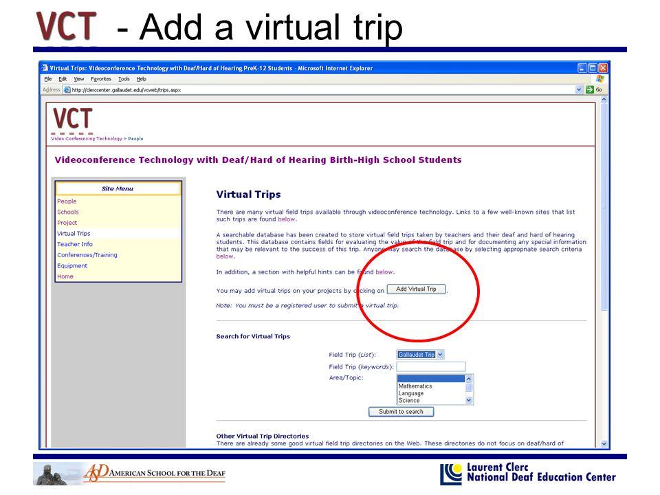 - Add a virtual trip