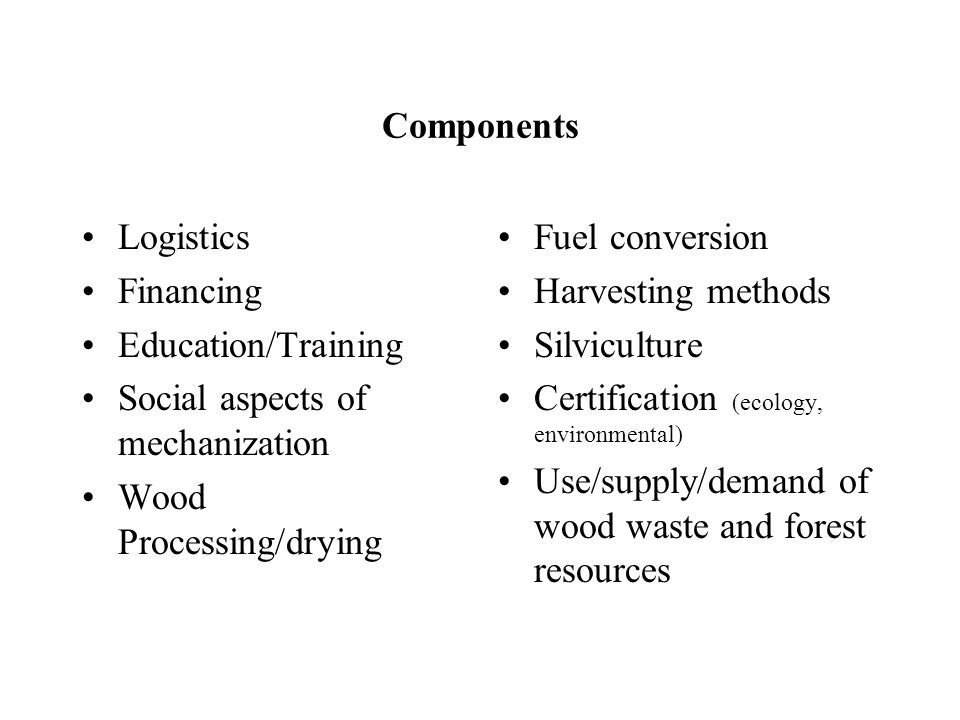 Components Logistics Financing Education/Training Social aspects of mechanization Wood Processing/drying Fuel conversion Harvesting methods Silviculture Certification (ecology, environmental) Use/supply/demand of wood waste and forest resources