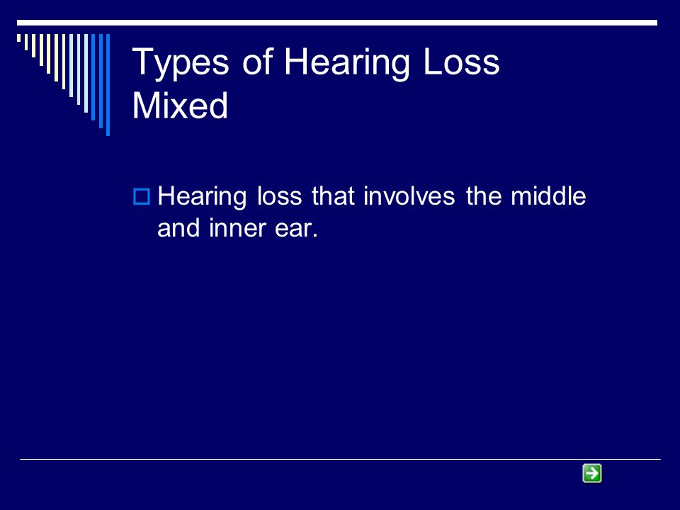 Types of Hearing Loss Mixed Hearing loss that involves the middle and inner ear.