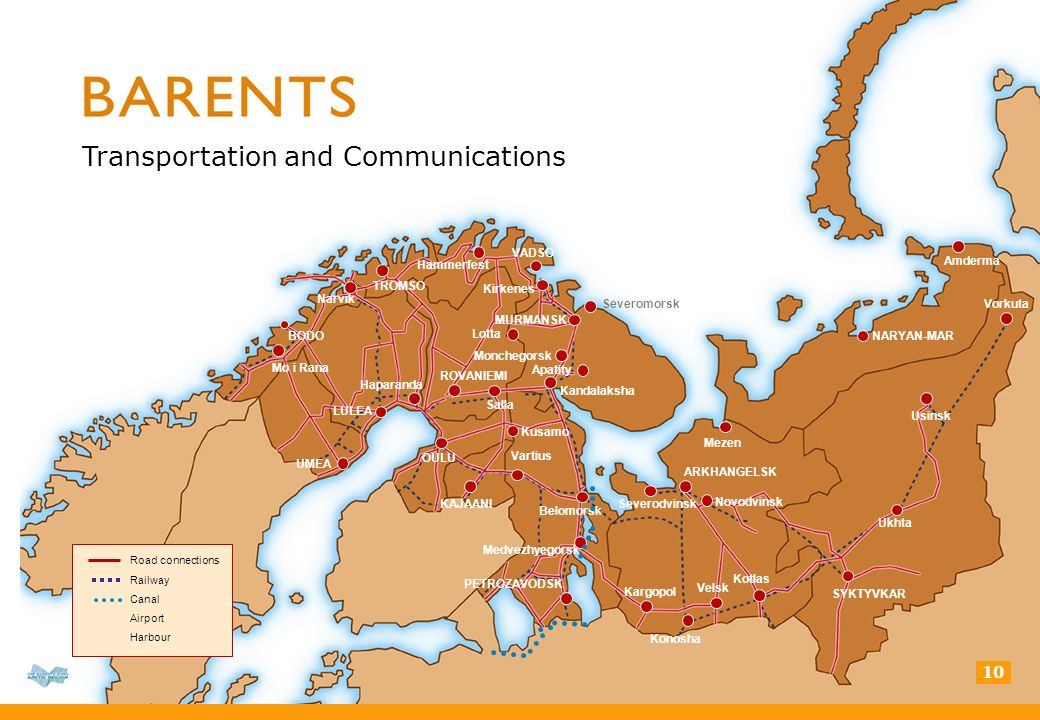10 Transportation and Communications Road connections Railway Canal Airport Harbour BODO TROMSO LULEA UMEA KAJAANI MURMANSK Monchegorsk Apatity NARYAN