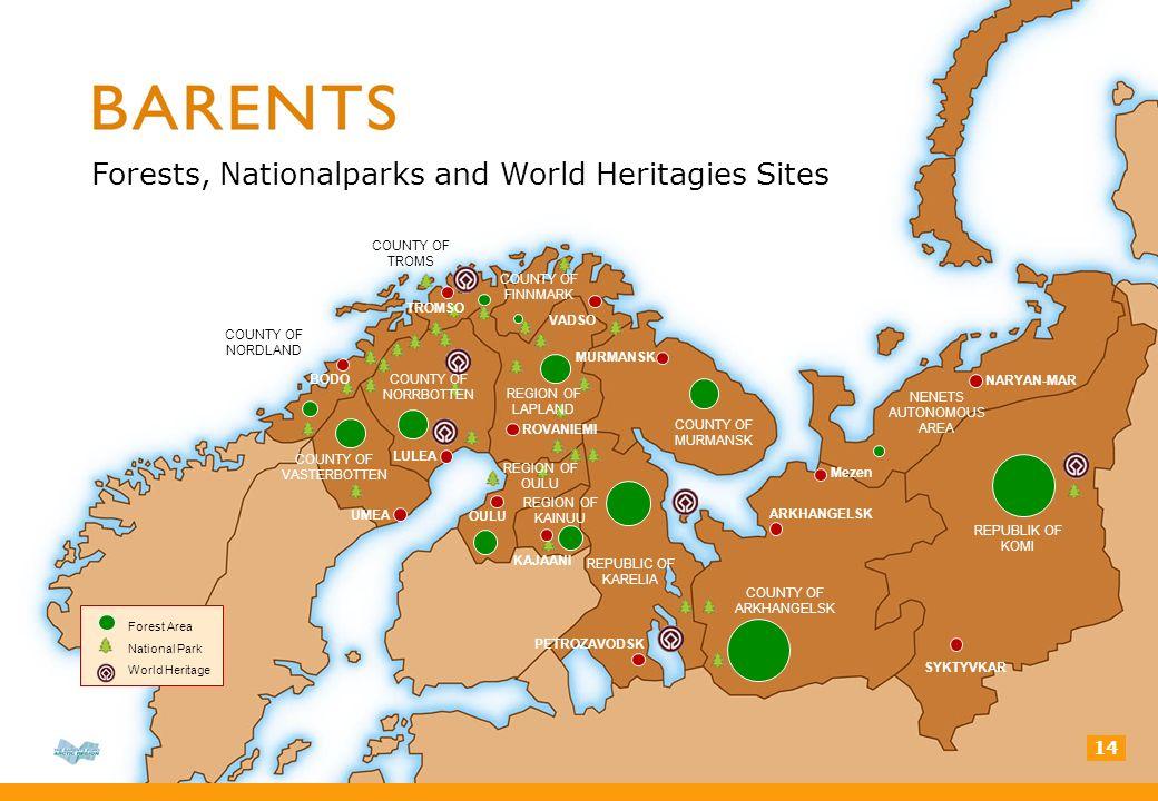 COUNTY OF TROMS COUNTY OF NORDLAND COUNTY OF FINNMARK COUNTY OF MURMANSK REGION OF KAINUU REPUBLIC OF KARELIA COUNTY OF ARKHANGELSK REPUBLIK OF KOMI NENETS AUTONOMOUS AREA LULEA UMEA KAJAANI VADSO MURMANSK NARYAN-MAR SYKTYVKAR ARKHANGELSK PETROZAVODSK OULU ROVANIEMI Mezen 14 Forests, Nationalparks and World Heritagies Sites Forest Area National Park World Heritage REGION OF LAPLAND COUNTY OF VASTERBOTTEN REGION OF OULU BODO TROMSO COUNTY OF NORRBOTTEN