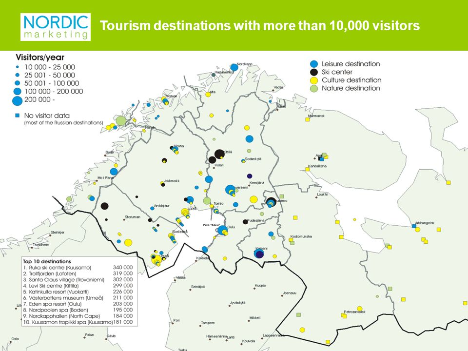Tourism destinations with more than 10,000 visitors.