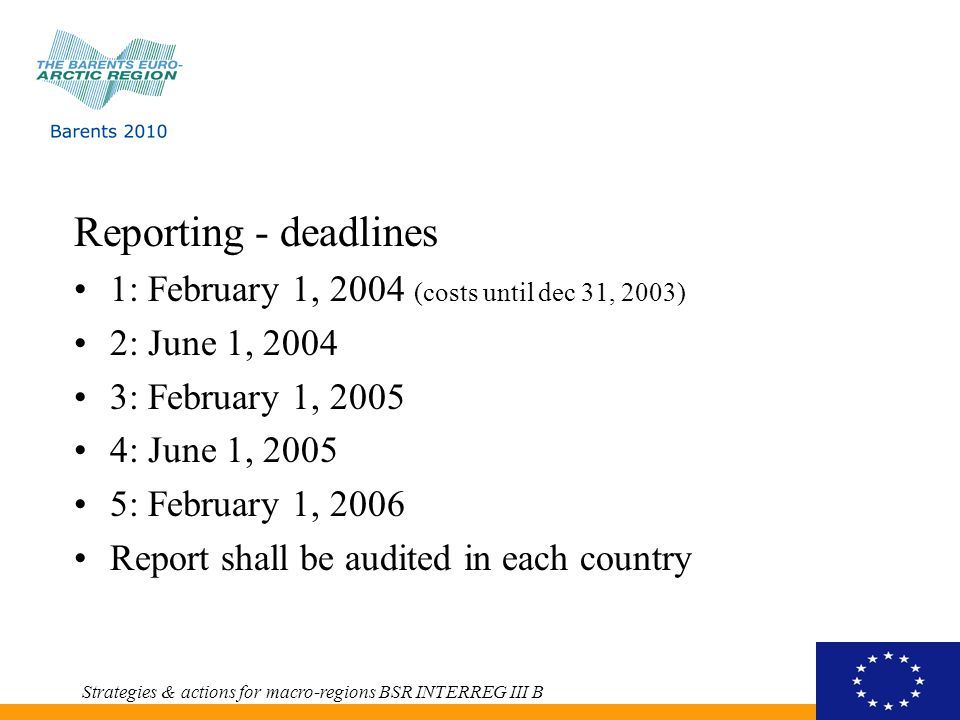 Reporting - deadlines 1: February 1, 2004 (costs until dec 31, 2003) 2: June 1, 2004 3: February 1, 2005 4: June 1, 2005 5: February 1, 2006 Report shall be audited in each country Strategies & actions for macro-regions BSR INTERREG III B