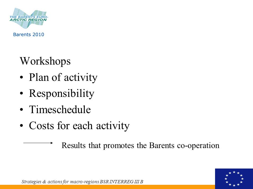 Workshops Plan of activity Responsibility Timeschedule Costs for each activity Strategies & actions for macro-regions BSR INTERREG III B Results that promotes the Barents co-operation