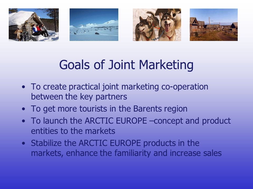 Goals of Joint Marketing To create practical joint marketing co-operation between the key partners To get more tourists in the Barents region To launch the ARCTIC EUROPE –concept and product entities to the markets Stabilize the ARCTIC EUROPE products in the markets, enhance the familiarity and increase sales