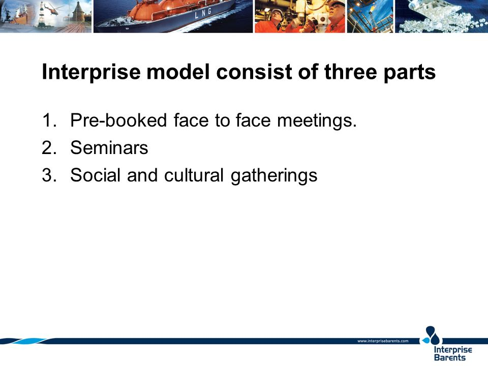 Interprise model consist of three parts 1.Pre-booked face to face meetings.