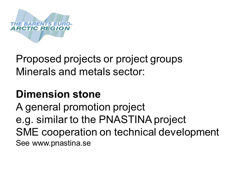 Proposed projects or project groups Minerals and metals sector: Dimension stone A general promotion project e.g. similar to the PNASTINA project SME c