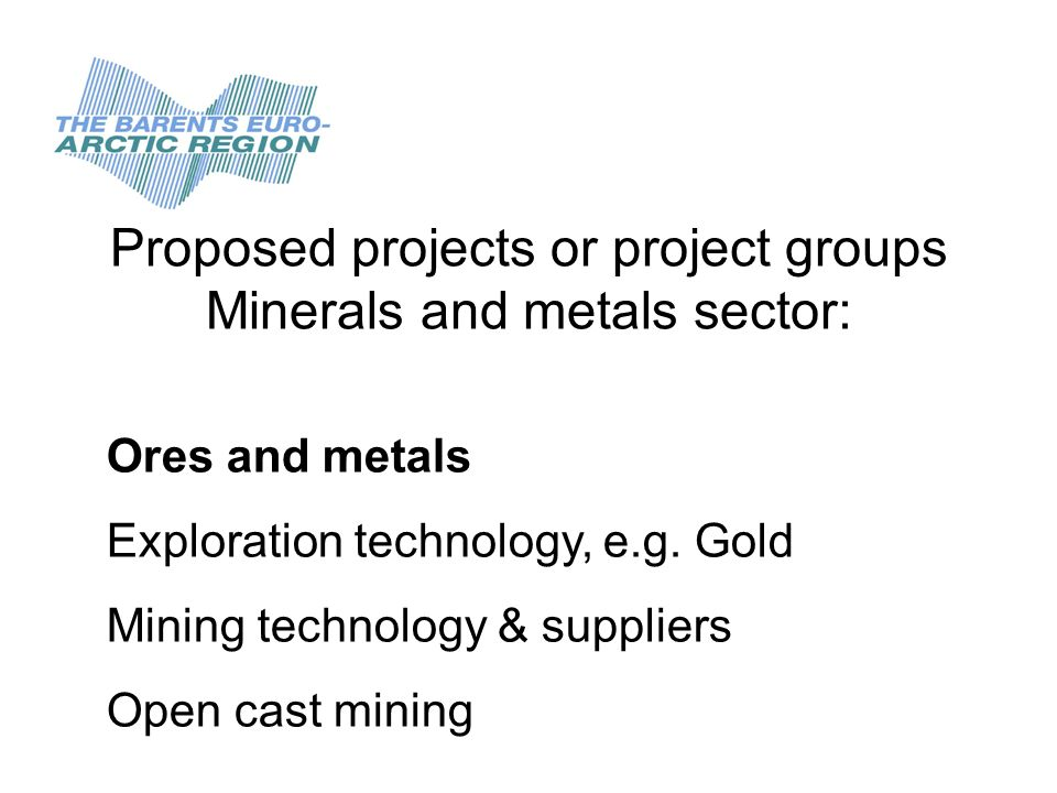 Proposed projects or project groups Minerals and metals sector: General, important issues: Legislation on Mining Legislation on Mining and the environment Environmental work related to mining and metallurgy.