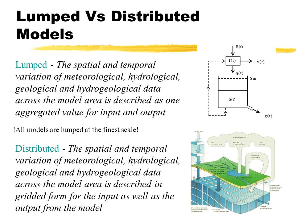 Lumped Vs Distributed Models Distributed - The spatial and temporal variation of meteorological, hydrological, geological and hydrogeological data across the model area is described in gridded form for the input as well as the output from the model Lumped - The spatial and temporal variation of meteorological, hydrological, geological and hydrogeological data across the model area is described as one aggregated value for input and output !All models are lumped at the finest scale!