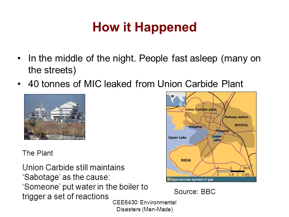 CEE6430: Environmental Disasters (Man-Made) How it Happened In the middle of the night.