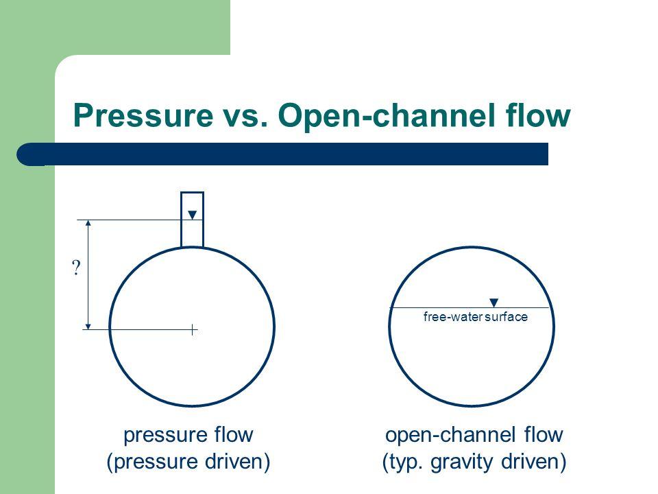 Pressure vs. Open-channel flow pressure flow (pressure driven) open-channel flow (typ. gravity driven) free-water surface ?