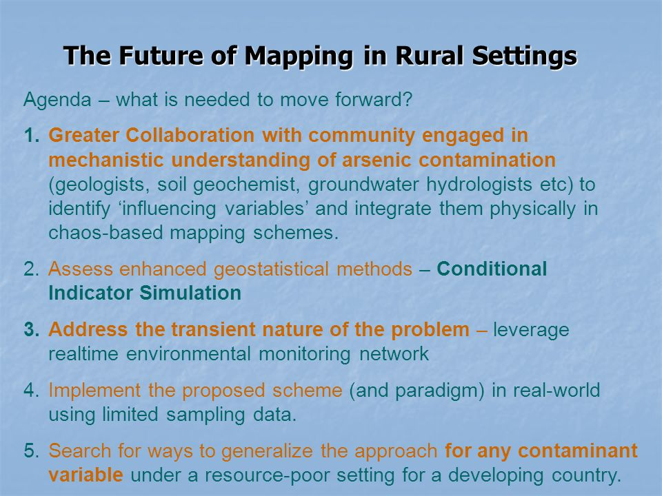The Future of Mapping in Rural Settings Agenda – what is needed to move forward.