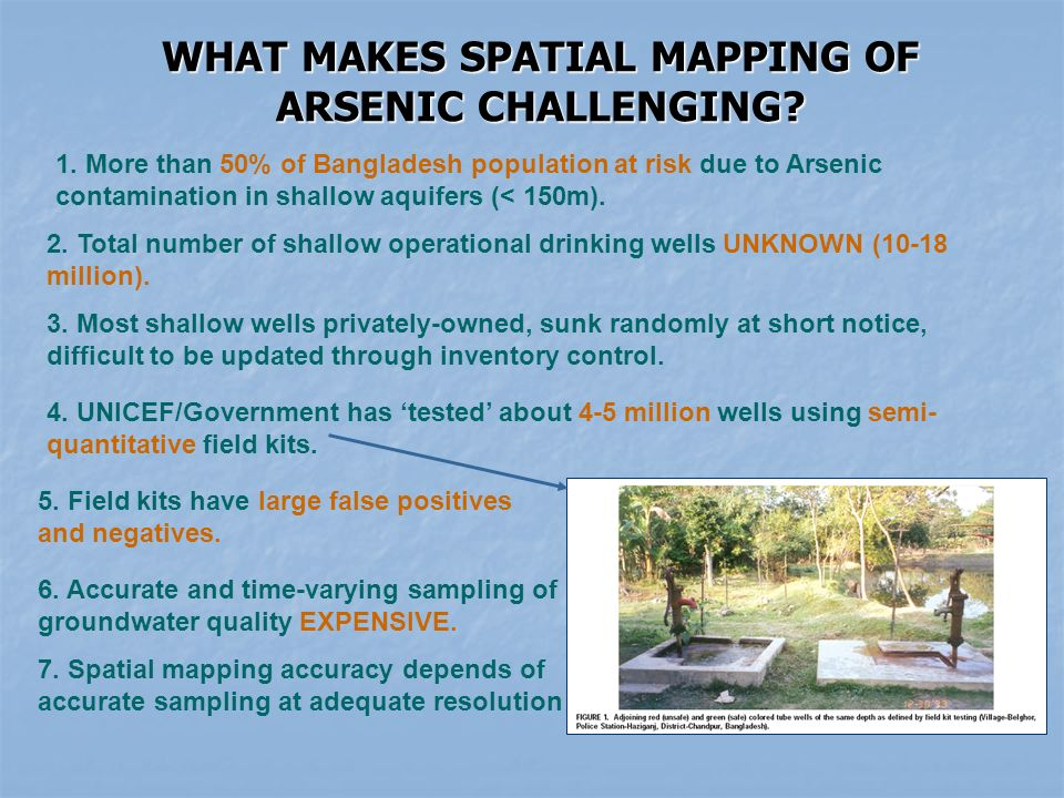 WHAT MAKES SPATIAL MAPPING OF ARSENIC CHALLENGING.
