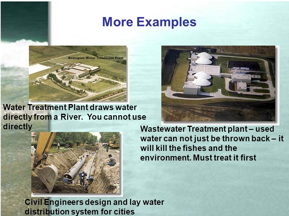 More Examples Water Treatment Plant draws water directly from a River.