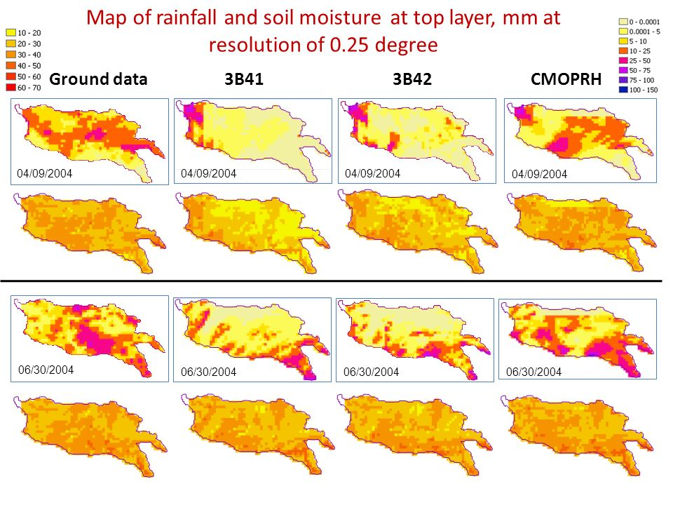 Map of rainfall and soil moisture at top layer, mm at resolution of 0.25 degree Ground data3B413B42CMOPRH 04/09/2004 06/30/2004
