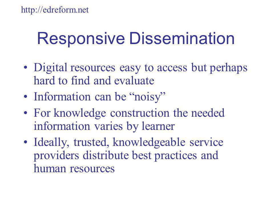 http://edreform.net Responsive Dissemination Digital resources easy to access but perhaps hard to find and evaluate Information can be noisy For knowledge construction the needed information varies by learner Ideally, trusted, knowledgeable service providers distribute best practices and human resources