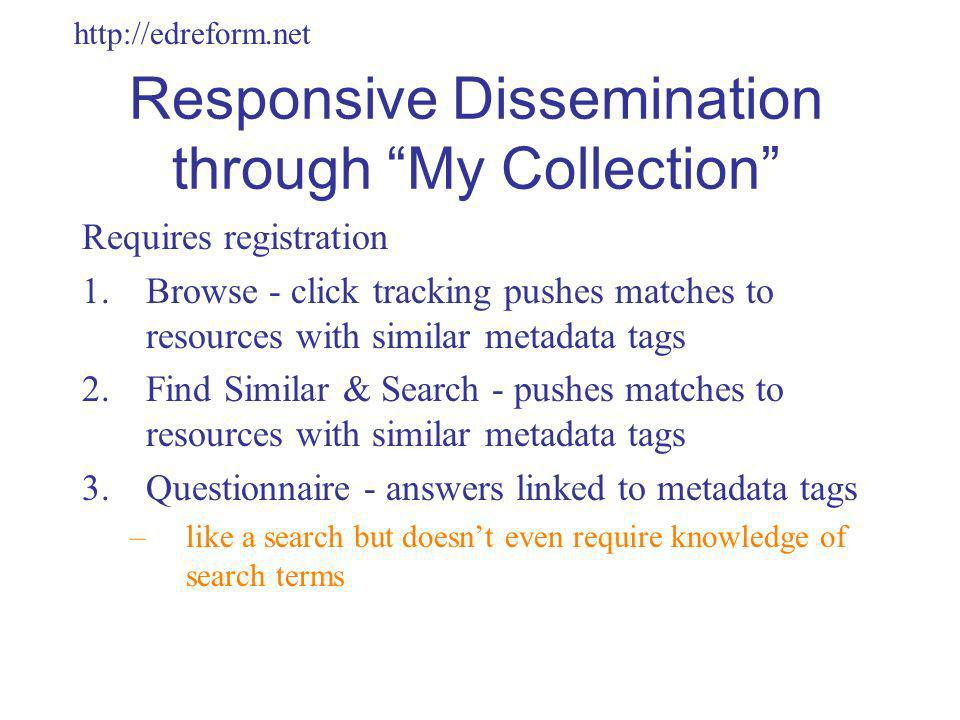 http://edreform.net Responsive Dissemination through My Collection Requires registration 1.Browse - click tracking pushes matches to resources with similar metadata tags 2.Find Similar & Search - pushes matches to resources with similar metadata tags 3.Questionnaire - answers linked to metadata tags –like a search but doesnt even require knowledge of search terms
