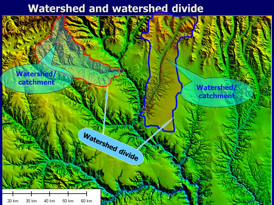 Watershed and watershed divide Watershed/ catchment Watershed divide
