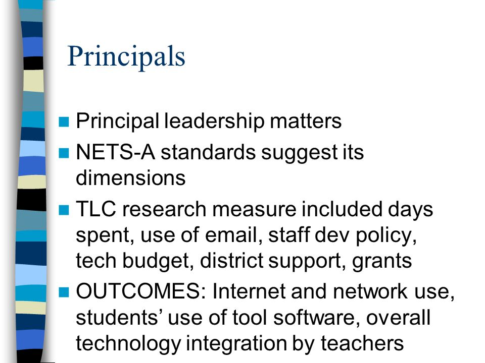 Technology Standards for School Administrators Draft (v4.0) I.Leadership and Vision Educational leaders inspire a shared vision for comprehensive integration of technology and foster an environment and culture conducive to the realization of that vision.