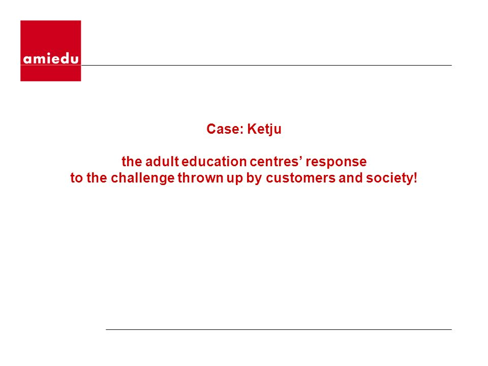Case: Ketju the adult education centres response to the challenge thrown up by customers and society!