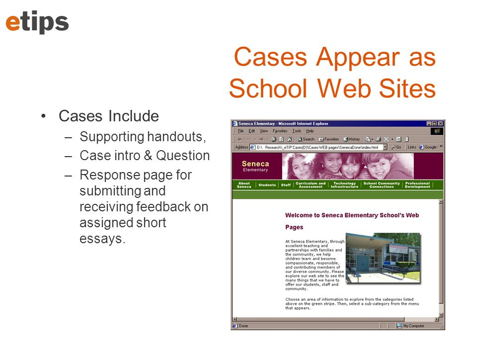 Cases Appear as School Web Sites Cases Include –Supporting handouts, –Case intro & Question –Response page for submitting and receiving feedback on as