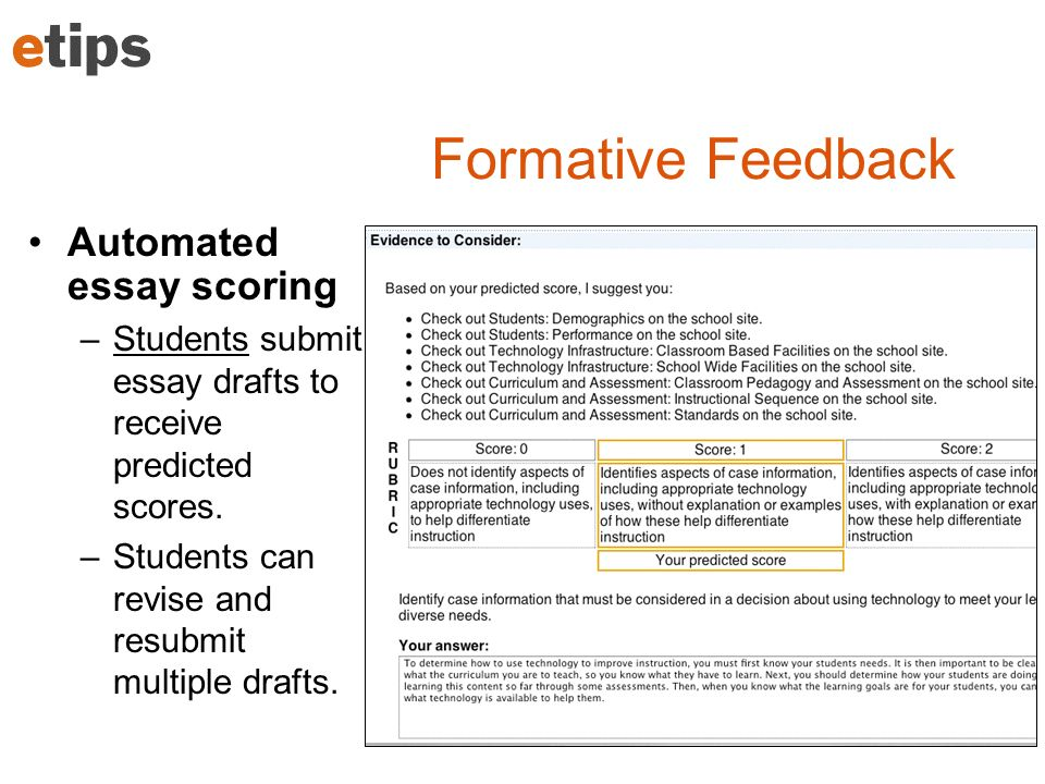 Formative Feedback Automated essay scoring –Students submit essay drafts to receive predicted scores.