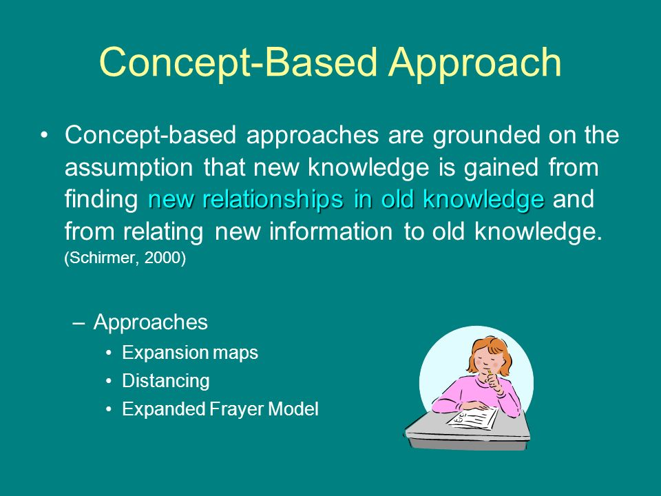 Concept-Based Approach new relationships in old knowledgeConcept-based approaches are grounded on the assumption that new knowledge is gained from finding new relationships in old knowledge and from relating new information to old knowledge.