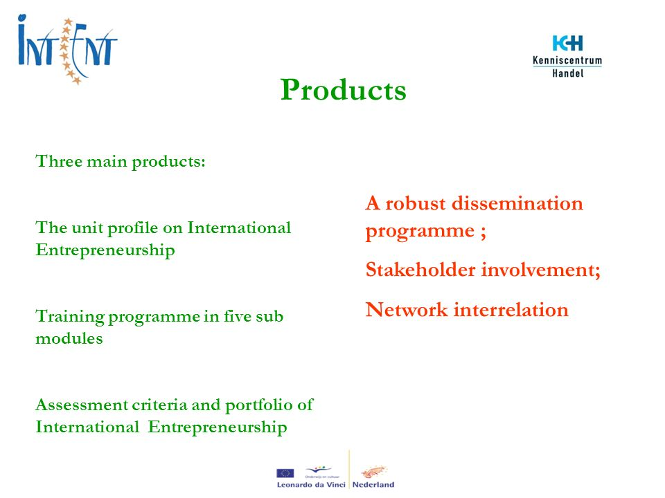 Products Three main products: The unit profile on International Entrepreneurship Training programme in five sub modules Assessment criteria and portfolio of International Entrepreneurship A robust dissemination programme ; Stakeholder involvement; Network interrelation