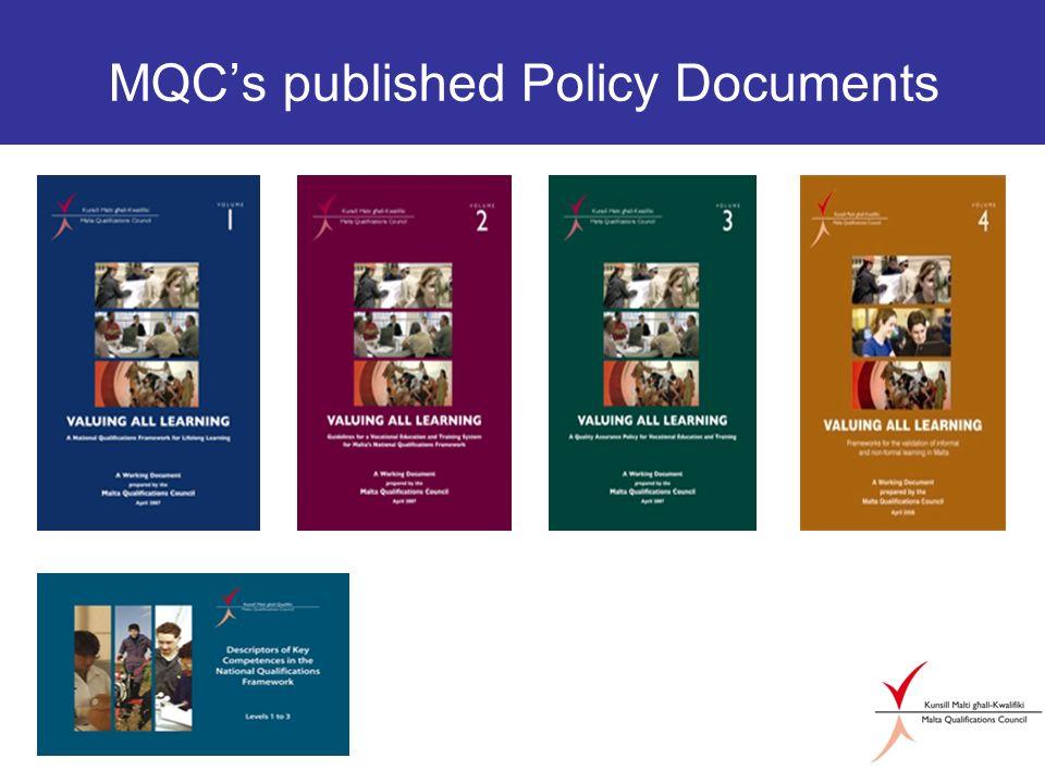 MQCs published Policy Documents