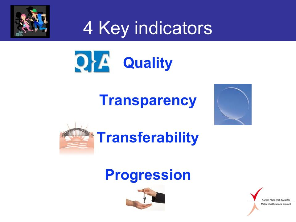 4 Key indicators Quality Transparency Transferability Progression