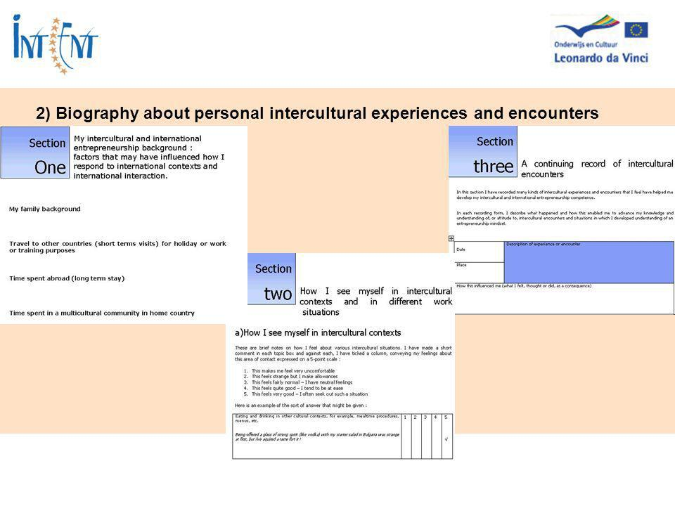 2) Biography about personal intercultural experiences and encounters