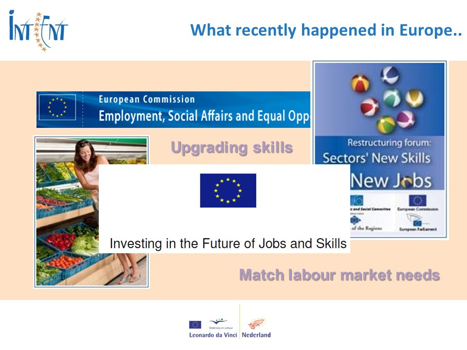 What recently happened in Europe.. Upgrading skills Match labour market needs