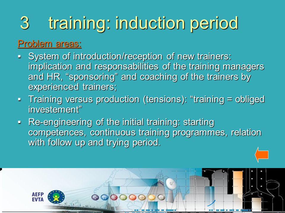 3training: induction period Problem areas: System of introduction/reception of new trainers: implication and responsabilities of the training managers