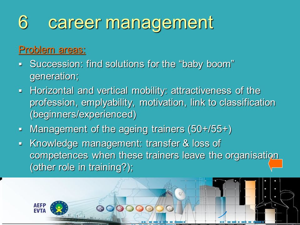 6career management Problem areas: Succession: find solutions for the baby boom generation; Succession: find solutions for the baby boom generation; Horizontal and vertical mobility: attractiveness of the profession, emplyability, motivation, link to classification (beginners/experienced) Horizontal and vertical mobility: attractiveness of the profession, emplyability, motivation, link to classification (beginners/experienced) Management of the ageing trainers (50+/55+) Management of the ageing trainers (50+/55+) Knowledge management: transfer & loss of competences when these trainers leave the organisation (other role in training ); Knowledge management: transfer & loss of competences when these trainers leave the organisation (other role in training );