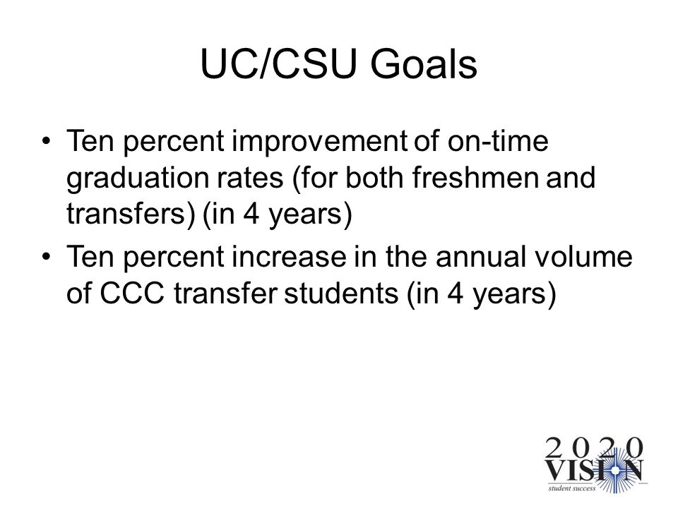 UC/CSU Goals Ten percent improvement of on-time graduation rates (for both freshmen and transfers) (in 4 years) Ten percent increase in the annual vol