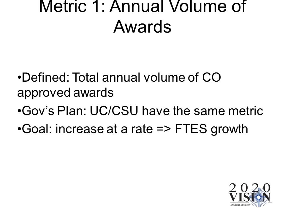 Metric 1: Annual Volume of Awards Defined: Total annual volume of CO approved awards Govs Plan: UC/CSU have the same metric Goal: increase at a rate =