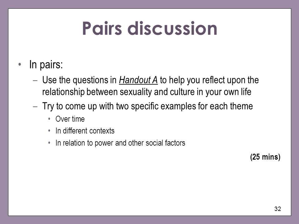 32 Pairs discussion In pairs: –Use the questions in Handout A to help you reflect upon the relationship between sexuality and culture in your own life –Try to come up with two specific examples for each theme Over time In different contexts In relation to power and other social factors (25 mins)
