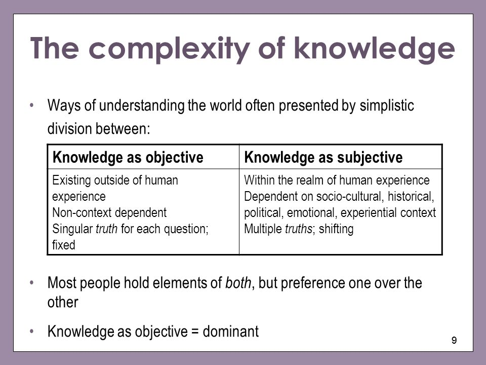 99 The complexity of knowledge Ways of understanding the world often presented by simplistic division between: Most people hold elements of both, but