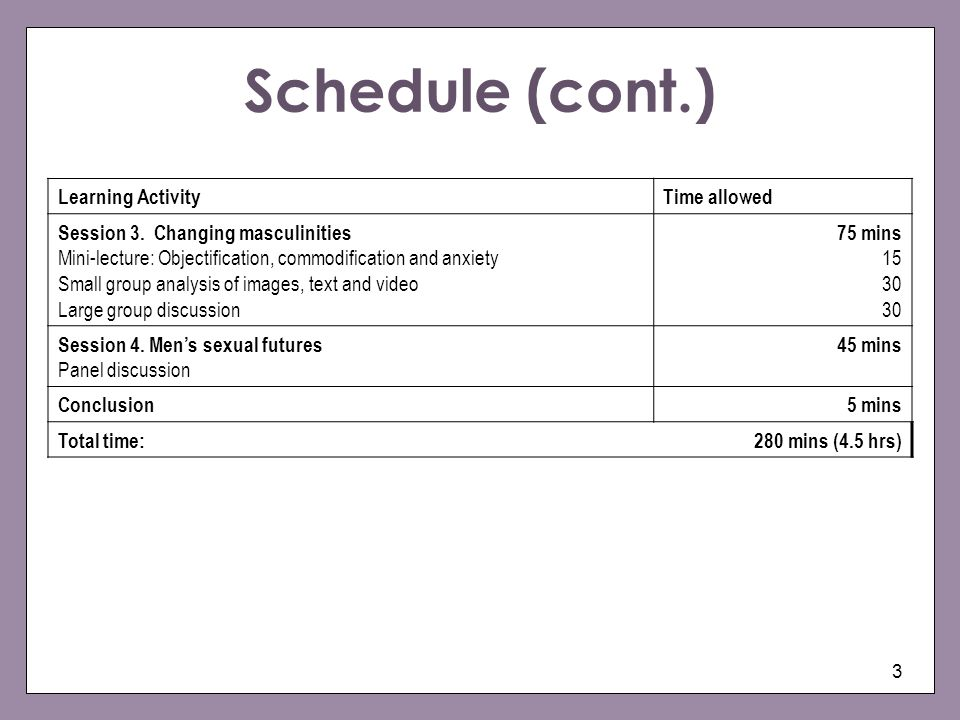 3 Schedule (cont.) Learning ActivityTime allowed Session 3. Changing masculinities Mini-lecture: Objectification, commodification and anxiety Small gr