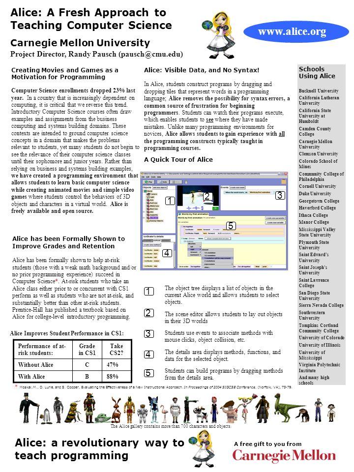 Alice: A Fresh Approach to Teaching Computer Science Carnegie Mellon University Project Director, Randy Pausch (pausch@cmu.edu) 1 A Quick Tour of Alic