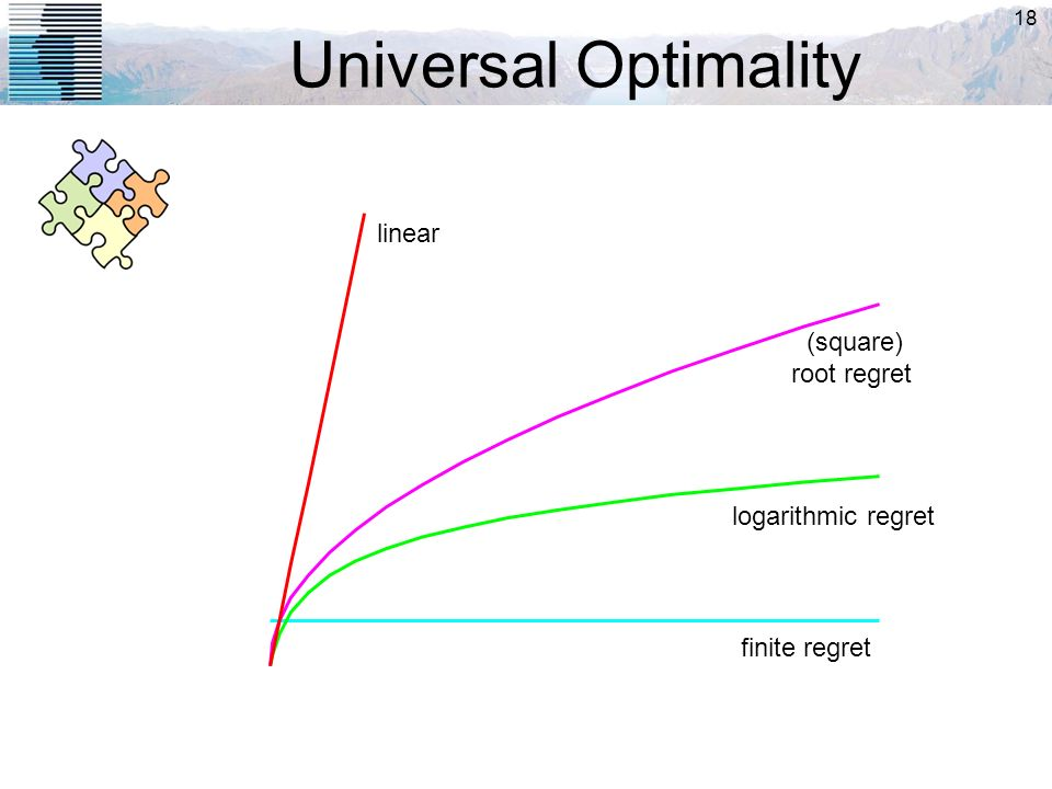 18 Universal Optimality finite regret logarithmic regret (square) root regret linear