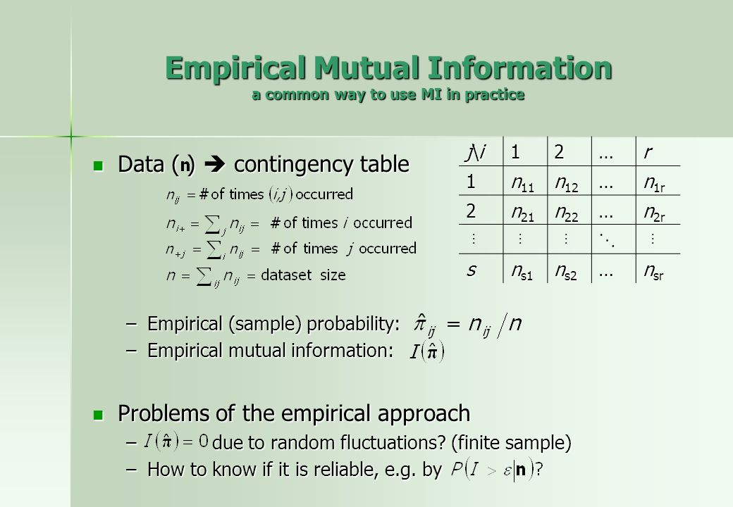 Empirical Mutual Information a common way to use MI in practice Data ( ) contingency table Data ( ) contingency table –Empirical (sample) probability: