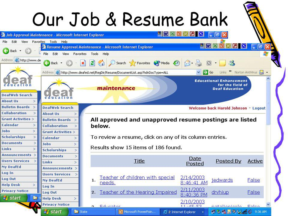 Our Job & Resume Bank