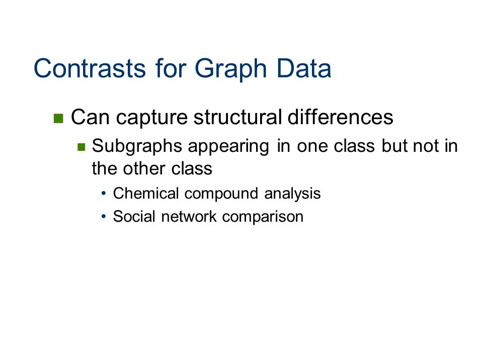 Contrasts for Graph Data Can capture structural differences Subgraphs appearing in one class but not in the other class Chemical compound analysis Soc