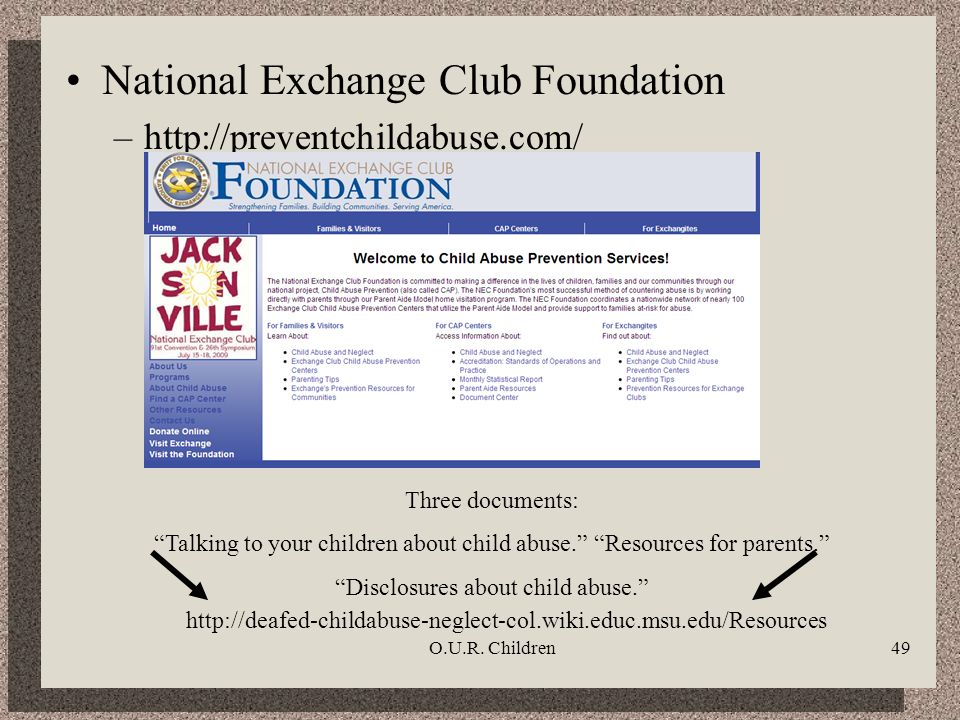 O.U.R. Children49 National Exchange Club Foundation –http://preventchildabuse.com/ Three documents: Talking to your children about child abuse. Resour